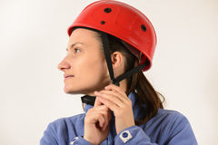 Portrait of a woman wearing helmet Stock Photography