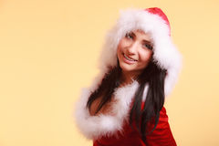 Portrait woman wearing santa claus costume on yellow Royalty Free Stock Photos