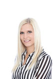 Portrait of Woman Wearing Striped Shirt in Studio. Portrait of Smiling Blond Woman Wearing Striped Black and White Shirt in Studio with White Background Royalty Free Stock Photography