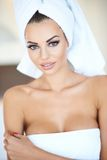Portrait of Woman Wearing White Bath Towel Stock Photography