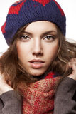 Portrait of woman with woolen accessories Royalty Free Stock Images