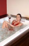 Portrait of woman in wellness bath Stock Photo