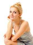 Portrait of woman on white background Royalty Free Stock Image