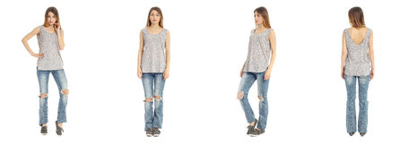 Portrait of woman on white background wearing jeans Royalty Free Stock Photography