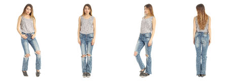 Portrait of woman on white background wearing jeans Royalty Free Stock Image