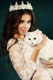 Portrait of Woman and White Cat Stock Images