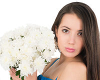 Portrait of a woman with white chrysanthemums Royalty Free Stock Photo
