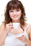 Portrait of woman with white cup of coffee Stock Photos