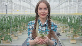Portrait of a woman who keeps carefully in his hands soil with a plant. Blue-eyed model. stock footage