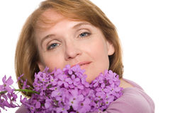 Portrait woman with wildflowers. Royalty Free Stock Image