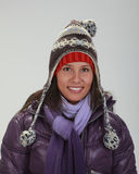 Portrait of a woman in winter stock photos