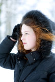 Portrait of woman in winter Royalty Free Stock Photography