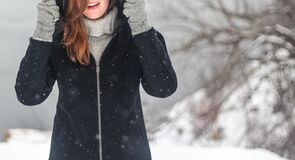 Portrait of woman in winter Stock Images