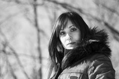 Portrait of a woman in winter in grayscale Royalty Free Stock Photos