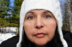 Portrait of a woman with winter hat Royalty Free Stock Photo