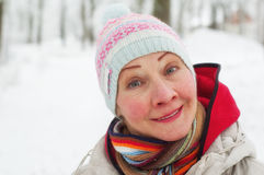 Portrait of a woman in a winter Stock Photo