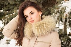 Young woman in winter park. Portrait of woman in winter park near the winter tree Stock Images