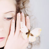Portrait Woman With The Butterfly. Royalty Free Stock Image