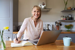 Portrait Of Woman Working From Home On Laptop In Apartment Royalty Free Stock Image