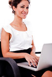 Portrait of a woman working with laptop Royalty Free Stock Image