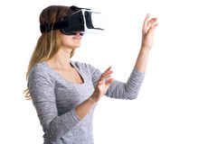 Portrait of a woman working in three-dimensional space in virtual reality. Portrait of a young woman working in three-dimensional space in virtual reality Royalty Free Stock Photography