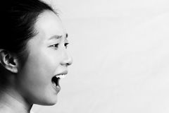 Portrait of woman yelling Royalty Free Stock Photos