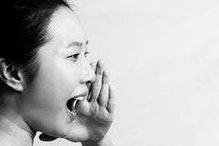 Portrait of woman yelling Royalty Free Stock Image