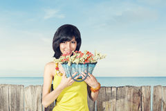 Portrait of woman in yellow dress Royalty Free Stock Image