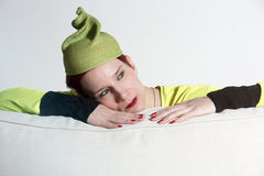 Portrait of woman with yellow vintage hat Royalty Free Stock Image