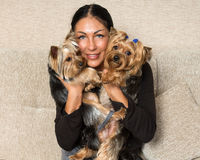 Portrait of a woman - yorkshire terrier breeder with dogs Royalty Free Stock Image