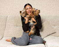 Portrait of a woman - yorkshire terrier breeder with dogs Stock Photos
