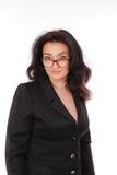 A portrait of women in black suite on white background. Business lady, teacher, entrepreneur. Stock Photos