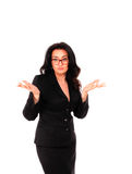 A portrait of women in black suite on white background. Business lady, teacher, entrepreneur. Royalty Free Stock Photo