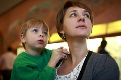 Woman with child in museum Royalty Free Stock Image