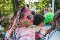 Portrait of women disguised with ears of Mickey at Colore Mulhouse 2017 stock photography