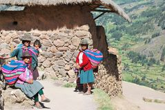 Portrait of women in Pisac royalty free stock image