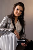 Portrait of women in electric jacket Stock Photo