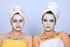 Portrait of women with facial mask royalty free stock photos