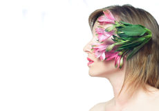 The portrait of women with flower Royalty Free Stock Images