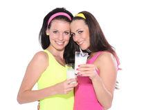 Portrait of a women holding a glass of milk Stock Photo