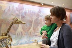 Woman and kid in museum Royalty Free Stock Photography