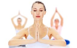 Portrait of woman making yoga meditation Royalty Free Stock Photo