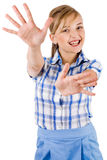 Portrait of women showing her hands wide open Royalty Free Stock Photo