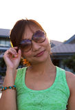 Portrait women with sunglass in rim light Royalty Free Stock Photos