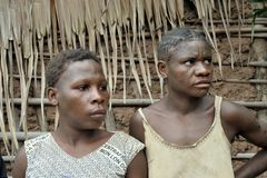 Portrait of a women from a tribe of Baka pygmies. Stock Photos