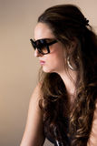 Portrait of women wearing sunglasses. Isolated on white Royalty Free Stock Images