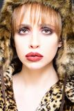 Portrait of wonderful woman looking at camera. girl in leopard fur coat and hat.  Stock Image