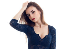 Portrait of a wonderful young girl with red lipstick on your lips and in the lace Bodysuit close-up Royalty Free Stock Images
