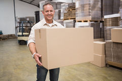 Portrait of worker carrying box Royalty Free Stock Images