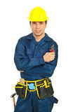 Portrait of worker man hold pliers Stock Photos